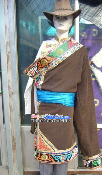 Chinese Tibetan Clothing Complete Set for Men
