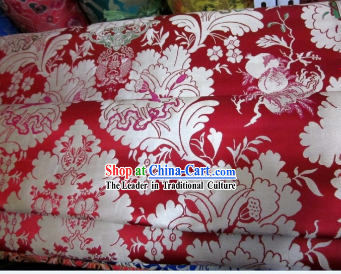 Chinese White Flower Brocade Fabric
