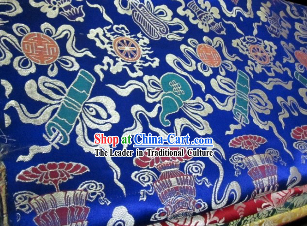 Traditional Chinese Lucky Eight Treasures Brocade Fabric