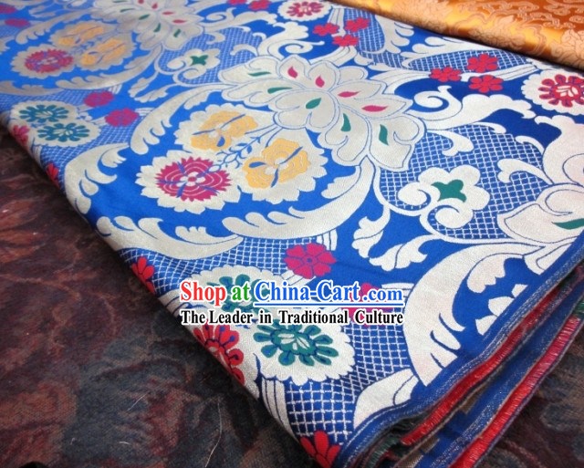 Chinese Traditional Blue Brocade Fabric