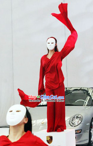 Mysterious Chinese Mask Dance Costume and Mask Set