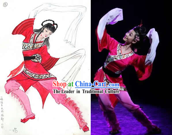 Chinese Water Sleeve Folk Dancing Costumes