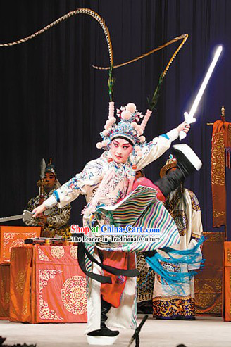 Peking Opera White Dragon Robe (Tuan Long Mang) Zhou Yu Costumes