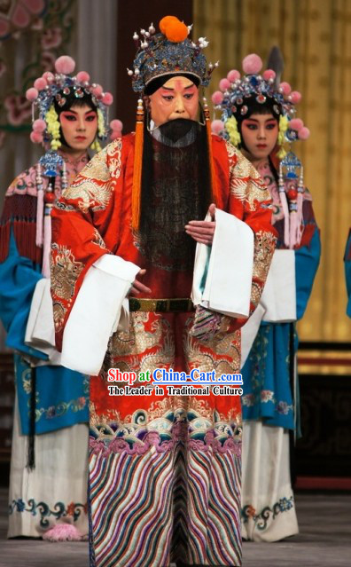 Peking Opera Liu Bei Costumes and Hat for Men