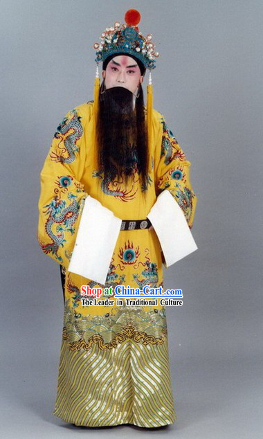 Traditional China Peking Opera Emperor Costumes and Hat Set