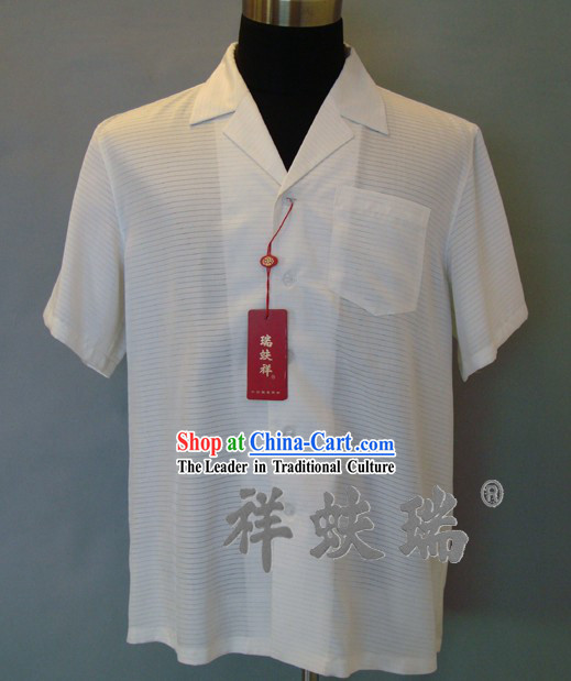 Chinese Peking Rui Fu Xiang White Silk Blouse for Men
