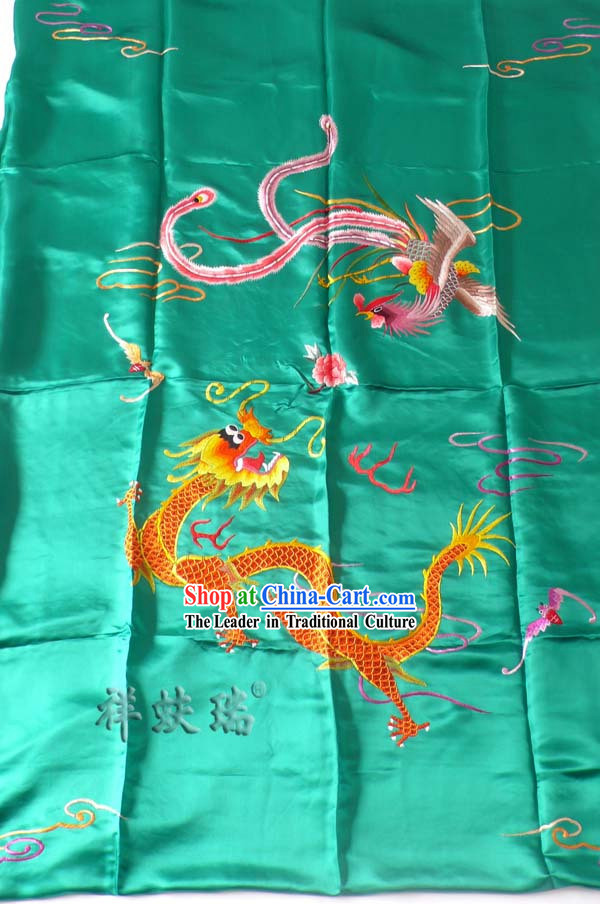 Beijing Rui Fu Xiang Silk Dragon Phoenix Wedding Bedcover Set