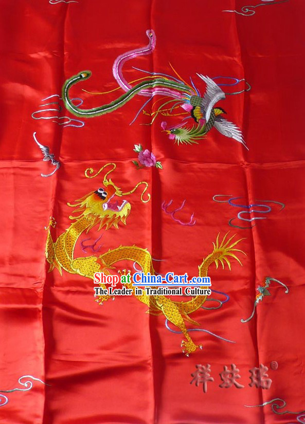 Beijing Rui Fu Xiang Silk Lucky Red Dragon Phoenix Wedding Bedcover Set