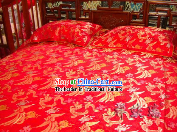 Beijing Rui Fu Xiang Silk Red Dragon Phoenix Wedding Bed Sheet Pillowships Set
