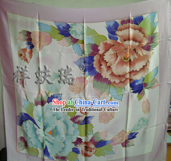 China Beijing Rui Fu Xiang Traditional Flower Silk Scarf