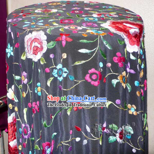 Chinese Rui Fu Xiang Silk Hand Embroidered Shawl