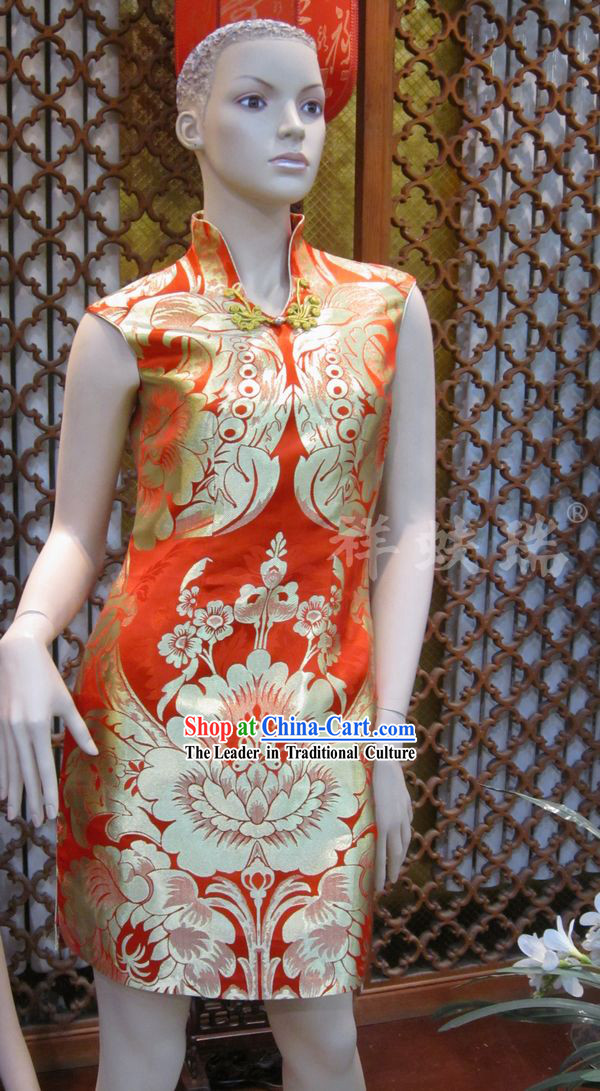 Beijing Rui Fu Xiang Silk Red Wedding Cheong-sam for Bride