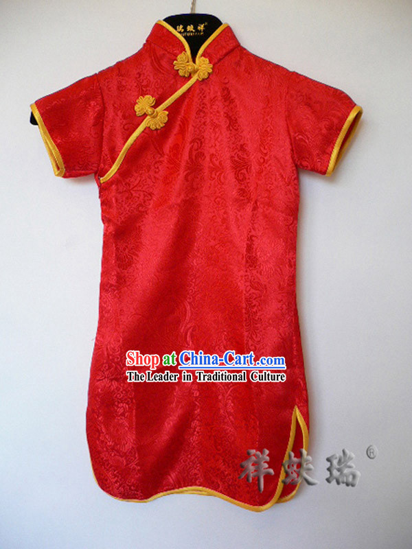 Famous Time-honored Rui Fu Xiang Lucky Red Qipao for Girls