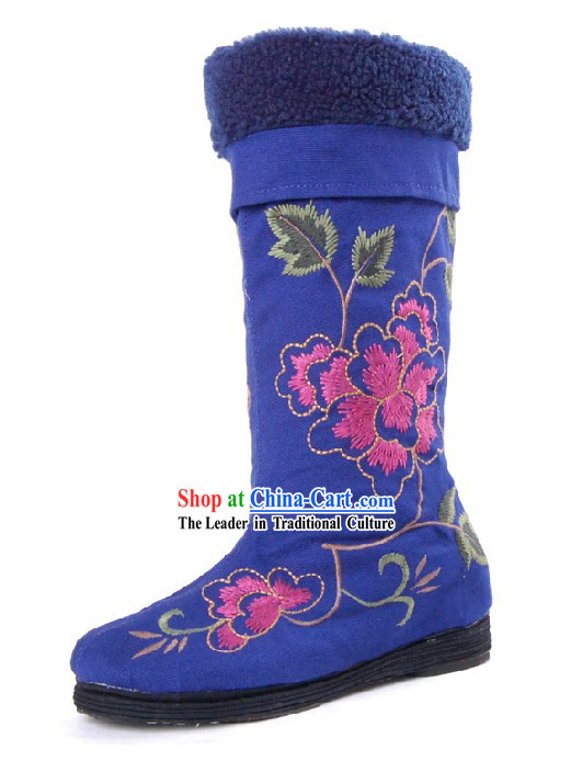 Chinese Handmade Qian Ceng Sole Folk Embroidered Boots