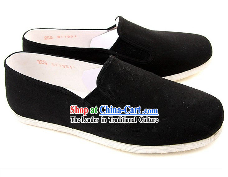 Chinese Classic Handmade Bu Ying Zhai Black Cloth Shoes for Men