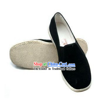 Traditional Chinese Beijing Bu Ying Zhai Black Cloth Shoes for Men