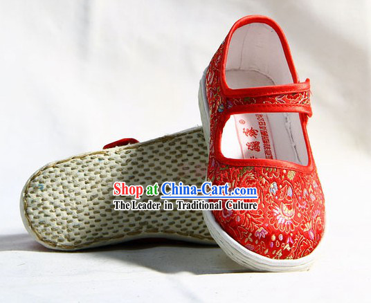 Chinese Handmade Bu Ying Zhai Red Brocade Shoes for Children