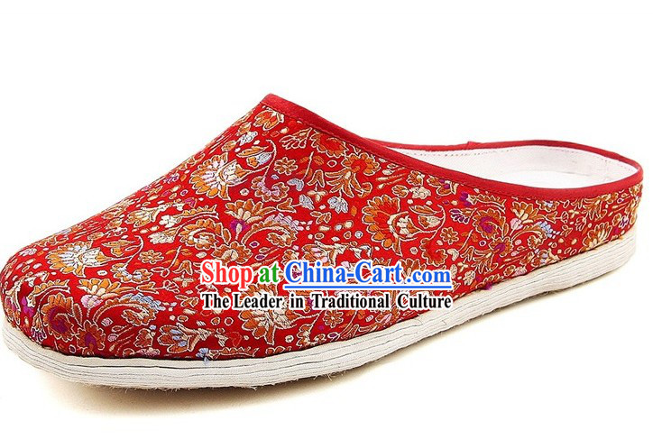 Chinese Handmade Bu Ying Zhai Brocade Slippers for Women