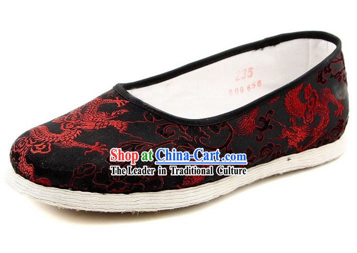 Chinese Handmade Bu Ying Zhai Dragon Brocade Slippers
