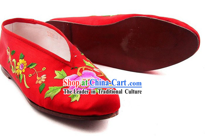 Chinese Handmade Bu Ying Zhai Cow Leather Sole Embroidered Wedding Shoes