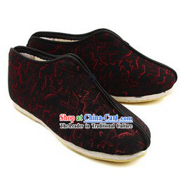 Chinese Handmade Bu Ying Zhai Winter Brocade Cotton Shoes