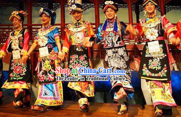Chinese Qiang Ethnic Minority Clothing and Hats 5 Sets