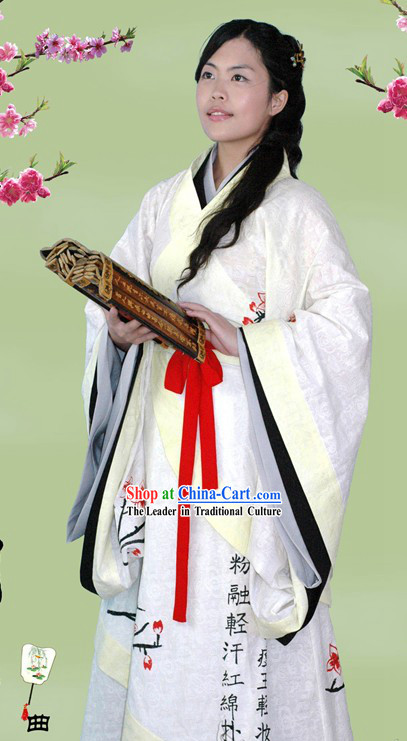 Chinese Hand Painted Han Dynasty Clothing Full Set for Women