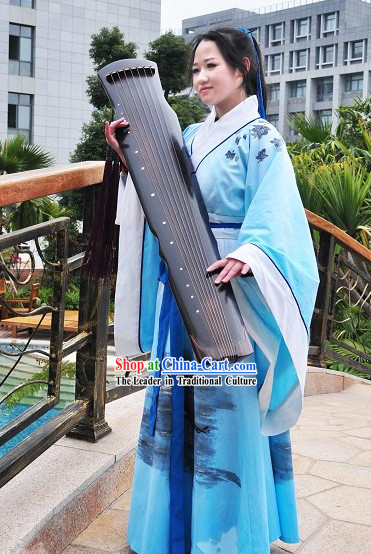 Chinese Hand Painted Hanfu Dress Full Set