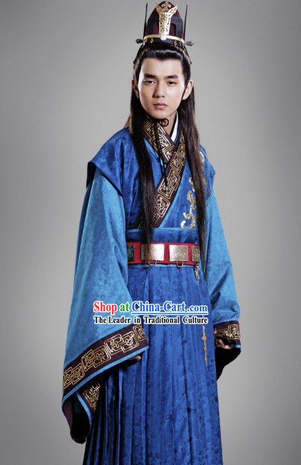 Ancient Chinese Prince Costumes and Crown Complete Set