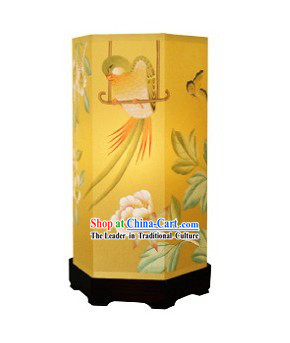 Chinese Classical Hand Painted Silk Floor Lantern