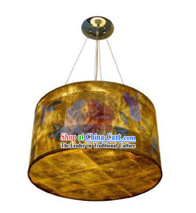 Chinese Classical Hand Painted Peony Silk Chandelier