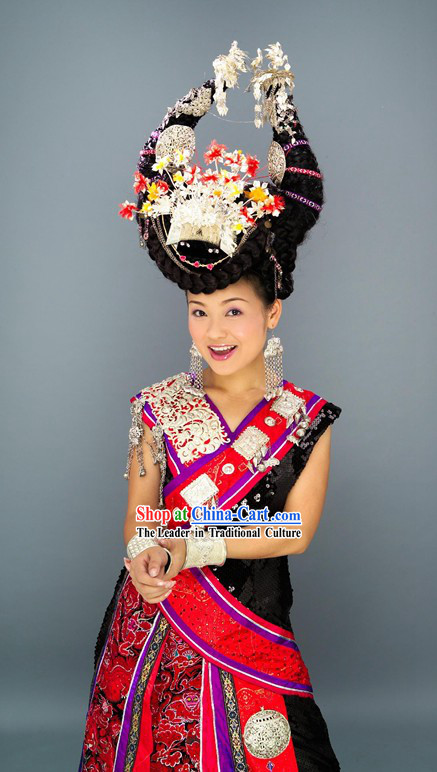 Chinese Miao Tribe Dance Costume and Hat Set