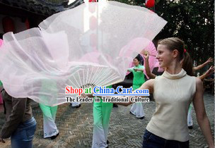 Long Chinese White Dance Fan