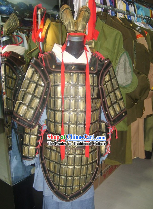 Qin Terra Cotta Warrior Armor Costume and Headpiece Complete Set