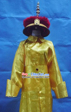 Qing Dynasty Emperor Costumes and Hat Set
