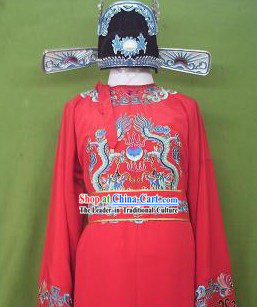 Chinese Number One Scholar Zhuang Yuan Costumes and Hat Set for Men