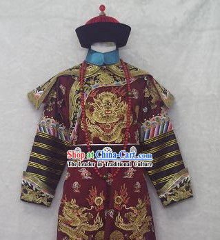 Chinese Qing Dynasty Governor Costumes and Hat for Men