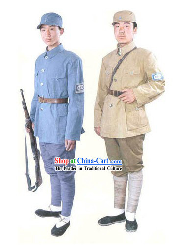 Ancient Chinese the Eighth Route Army Costumes and Hat 2 Uniforms