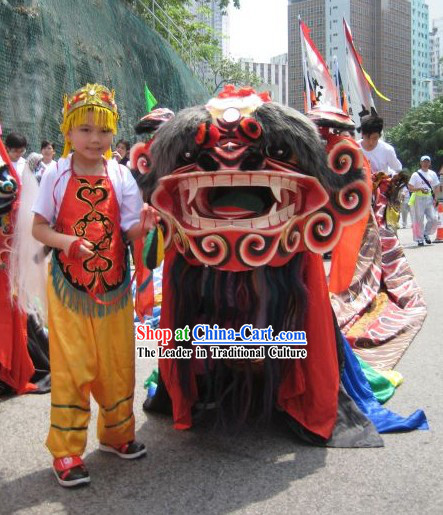 Traditional Chinese Unicorn Mask and Costumes Full Set