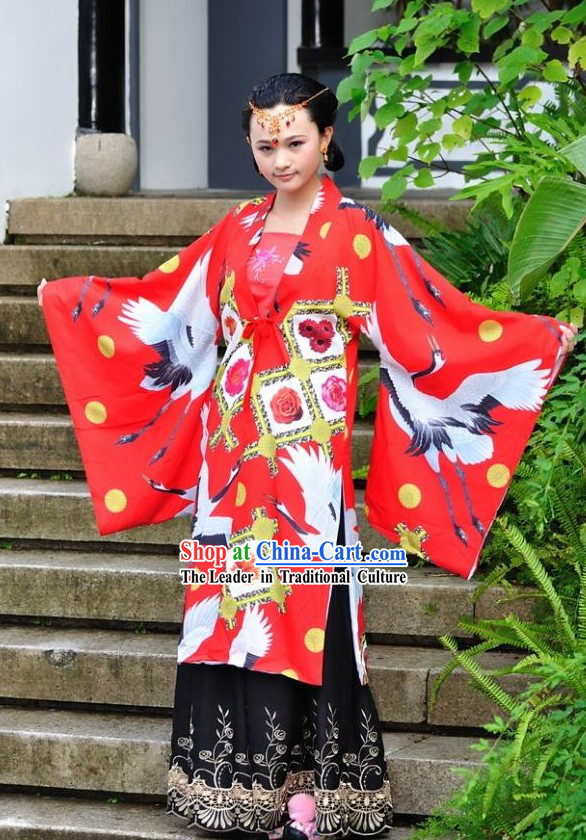 Stunning Chinese Princess Crane Hanfu Clothing Complete Set