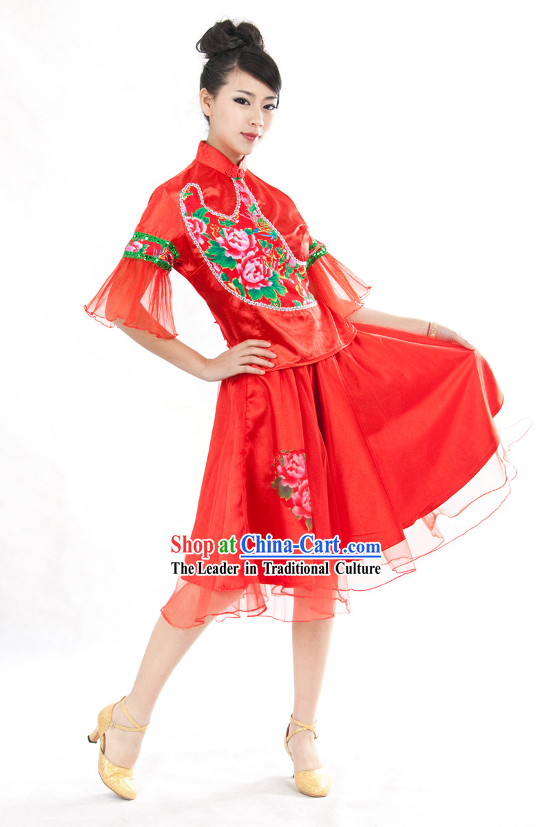 Chinese Yangge Fan Dancing Costumes