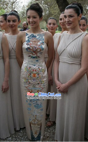 Chinese Embroidered Dragon Qipao