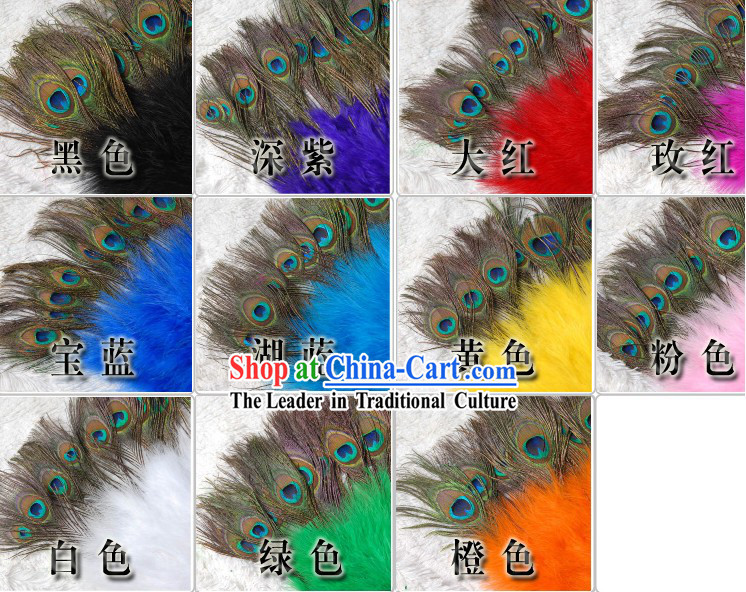 Chinese Peacock Feather Dance Fan