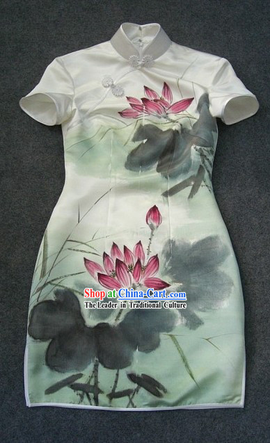 Chinese Hand Painted Silk Lotus Short Qipao