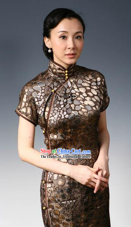Traditional Chinese Tang Silk Cheongsam Qipao