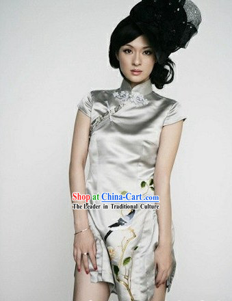 Chinese Classical Embroidered Short Sexy Cheongsam