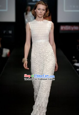 Modern Lace Long Cheongam