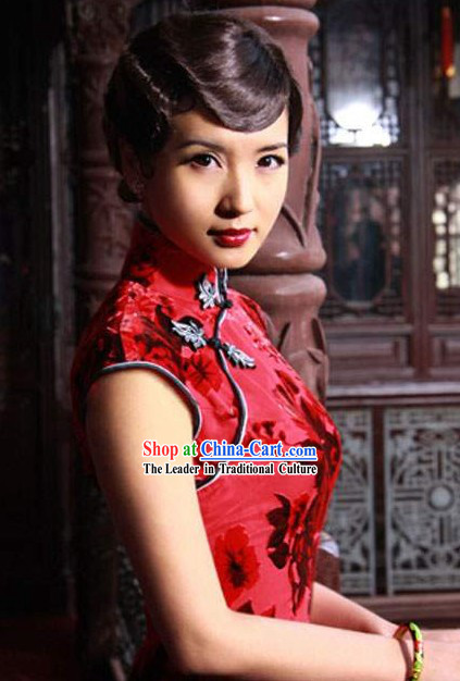 Chinese Tang Red Rose Cheongsam