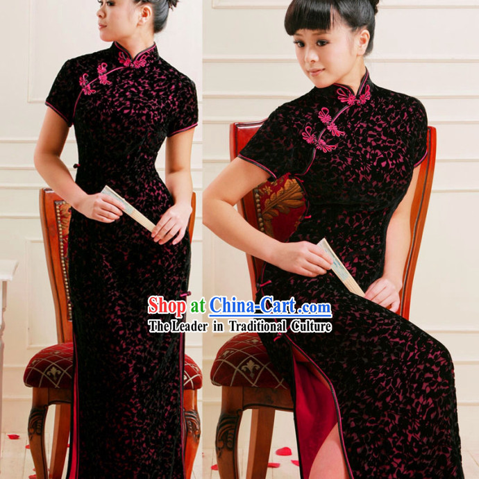 Standard Chinese Long Flower Cheongsam