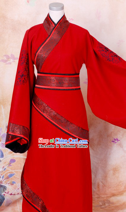 Ancient Han Dynasty Embroidered Flower Red Wedding Dress
